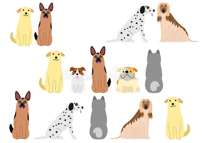 Śliczni psy rabatowy set1 ilustracji