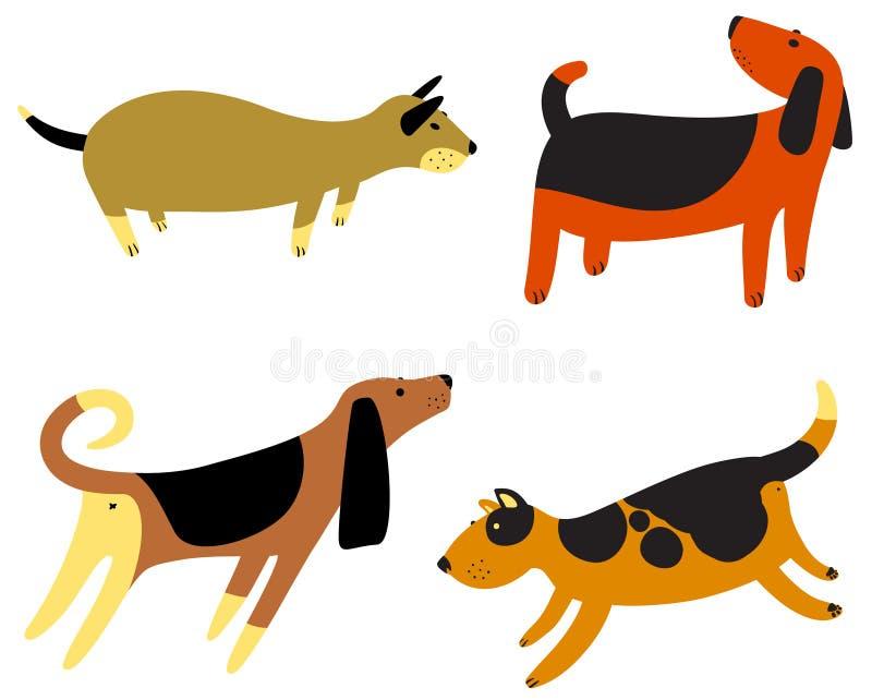 Śliczni psy ustawiający Kolekcja z zwierząt domowych charactes royalty ilustracja