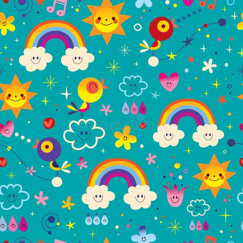 Śliczni ptaki, kwiaty, słońce, tęcza, chmury, nieb raindrops niezwykle imponująco bezszwowy wzór ilustracji