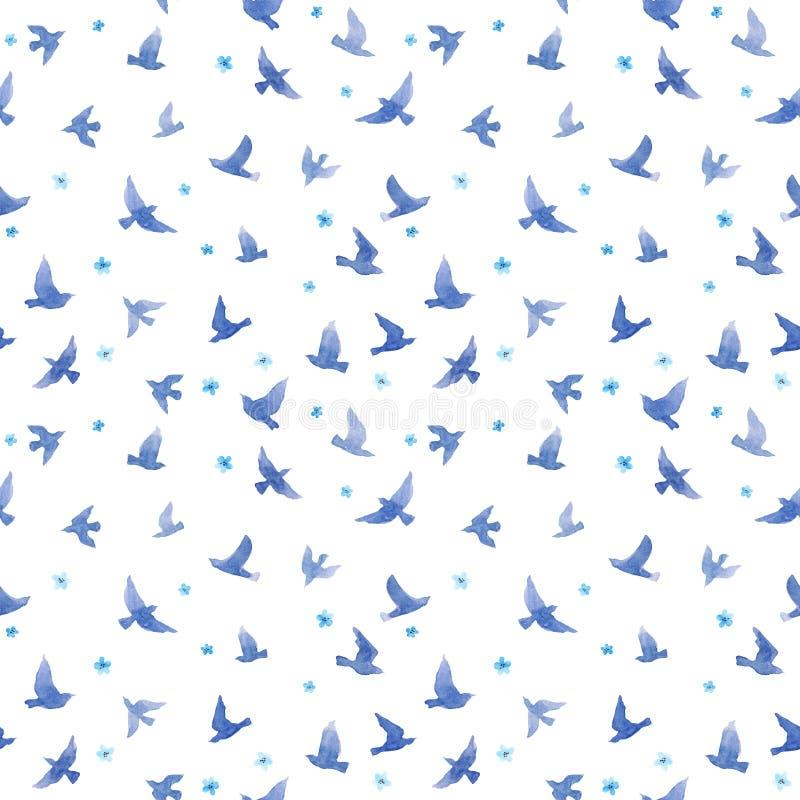 Śliczni ptaki, mali kwiaty bezszwowy wzoru akwarela obraz stock