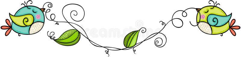 Śliczni ptaki trzyma gałąź liście ilustracja wektor