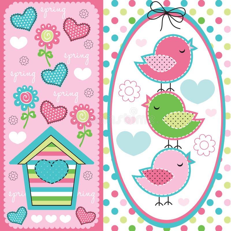 Śliczni ptaki z wiosna wzoru ilustracją ilustracji