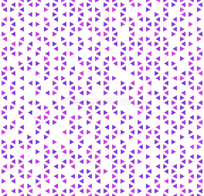 Śliczni purpurowi trójboki na białym, abstrakcjonistycznym bezszwowym wzorze, ilustracja wektor