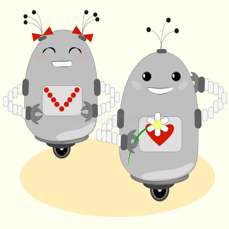 Śliczni roboty - chłopiec i dziewczyna royalty ilustracja