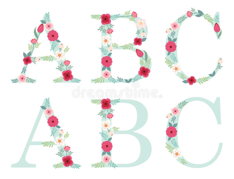 Śliczni rocznika abecadła listy z ręka rysującym wieśniakiem kwitną ilustracji