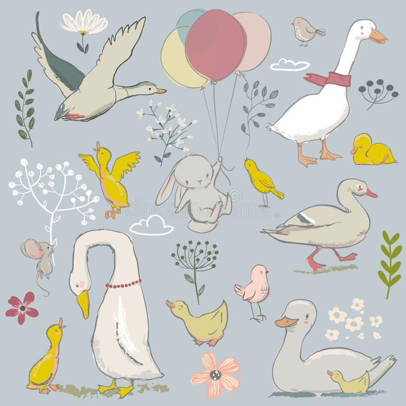 Śliczni rolni ptaki ustawiający royalty ilustracja