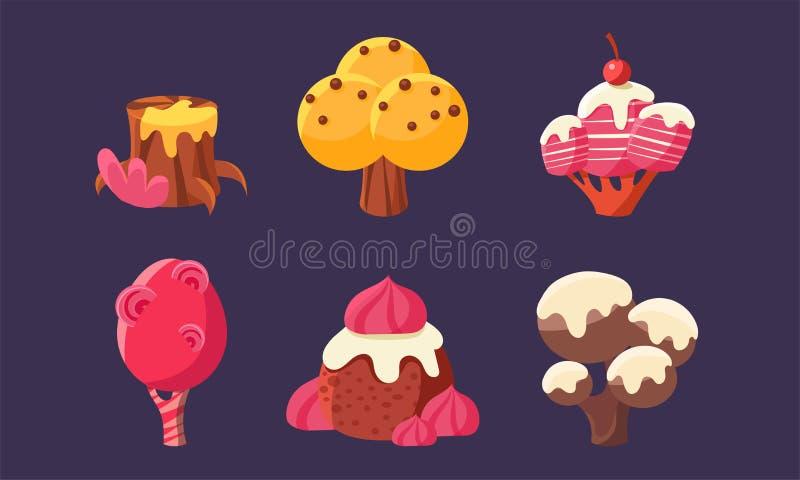 Śliczni Słodcy cukierków drzewa Ustawiający, fantazja elementy dla wiszącej ozdoby lub gra wideo interfejs użytkownika wartości w ilustracji