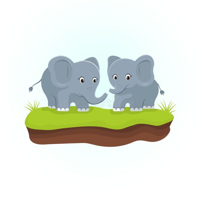 Śliczni słonie na zielonych trawach Zwierzę postać z kreskówki ilustracja wektor