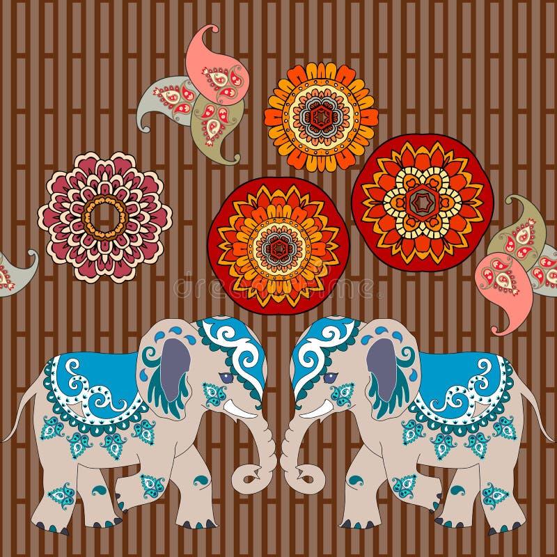 Śliczni słonie, Paisley i mandalas kwiaty na brązie, paskowali tło ilustracji