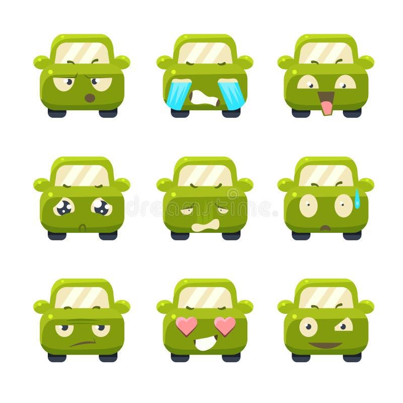Śliczni samochody z Emoticons kreskówki serc biegunowy setu wektor royalty ilustracja