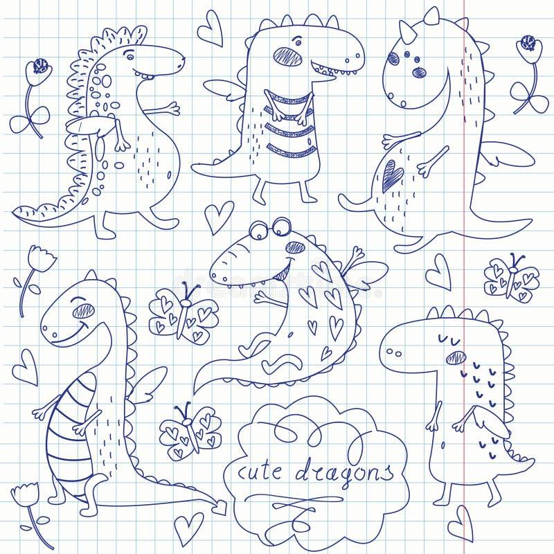 śliczni smoki ilustracji