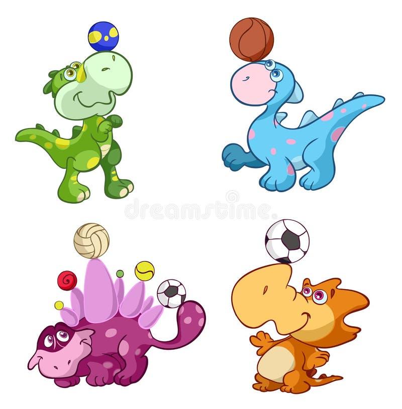 Śliczni sporta dziecka dinos bawić się z piłką ilustracji
