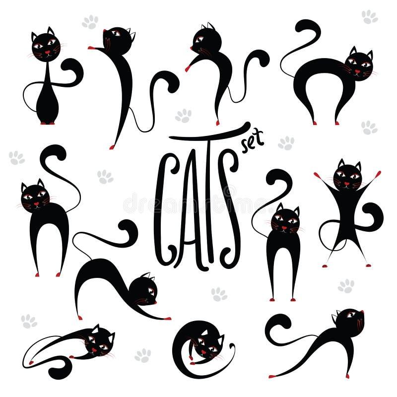 Śliczni stylizowani czarni koty ustawiający w różnorodnych pozycjach Literowania ins ilustracja wektor