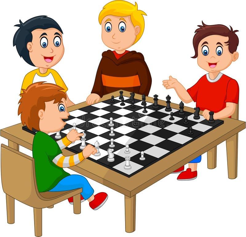 Śliczni szczęśliwi dzieciaki bawić się szachy ilustracji