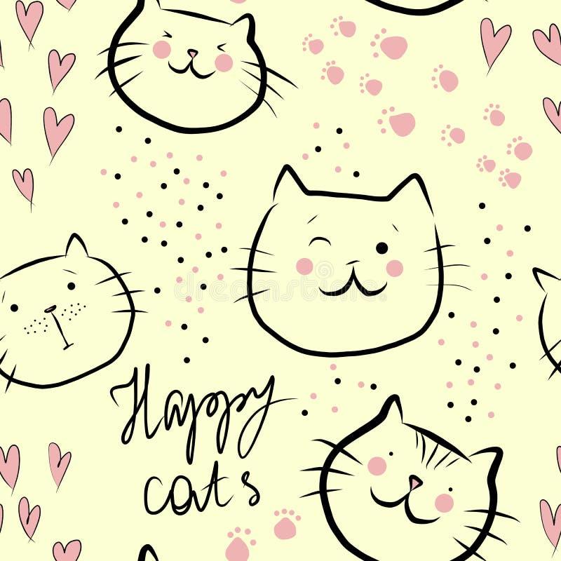 Śliczni szczęśliwi koty z różowymi sercami i tekst - bezszwowy wzór na żółtym tle ilustracji