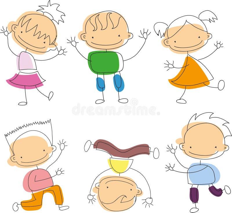 Śliczni szczęśliwi kreskówki doodle dzieciaki ilustracja wektor