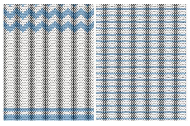 Śliczni Trykotowi tkanina stylu wektoru wzory Błękitny i biały Prosty projekt Szewron i lampasy royalty ilustracja