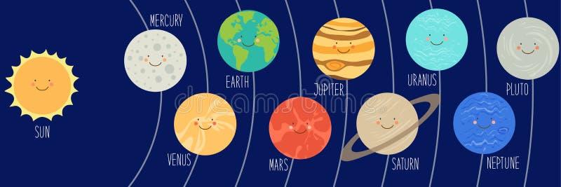 Śliczni uśmiechnięci postać z kreskówki planety układ słoneczny Dziecięcy tło ilustracji
