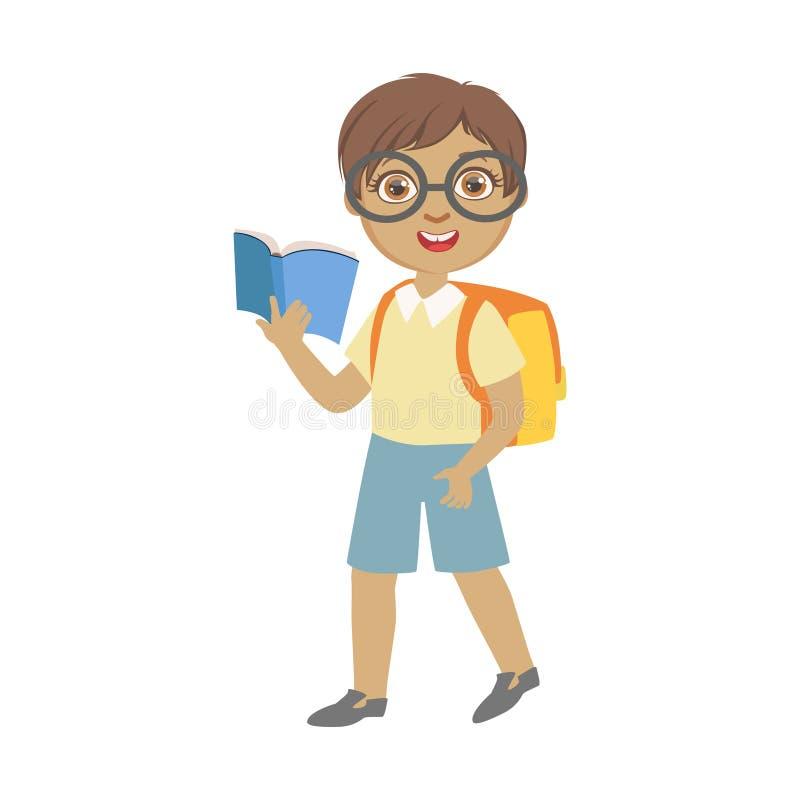 Śliczni uczniowscy jest ubranym szkła niesie plecaka i trzyma błękitną książkę, kolorowy charakter odizolowywający na bielu ilustracji