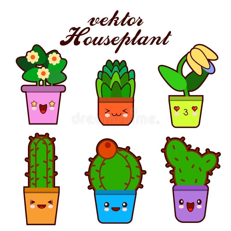 Śliczni uroczy kawaii houseplants Kawaii stawia czoło kwiatów garnki Kreskówka styl Wektorowe ilustracyjne ikony na białym tle royalty ilustracja