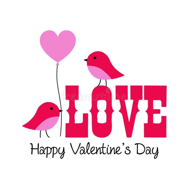 śliczni valentine lovebirds graficzni z balonem royalty ilustracja