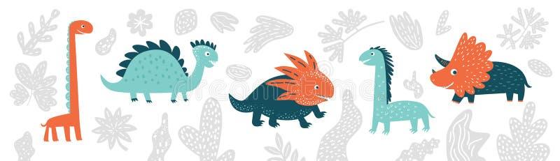 Śliczni wektorowi dinosaury ustawiający w kreskówka stylu odizolowywającym na białym tle royalty ilustracja