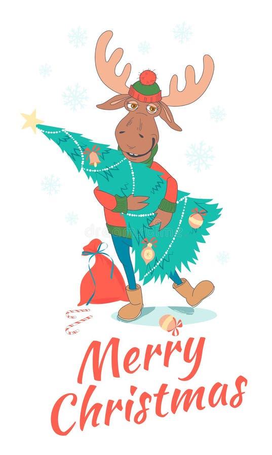 Śliczni Wesoło boże narodzenia i szczęśliwa nowy rok karta z rogaczem & x28; łoś, muczenie ilustracji