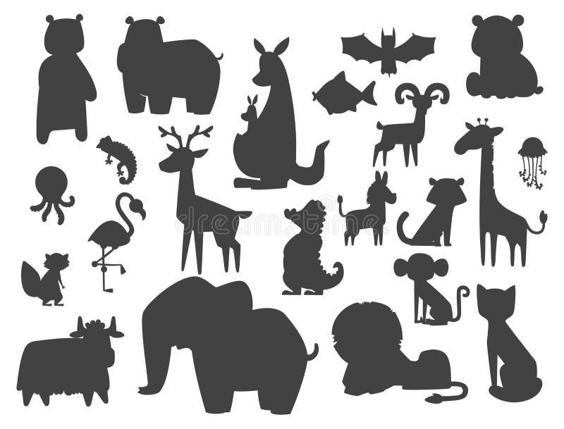Śliczni zoo kreskówki sylwetki zwierzęta odizolowywali śmiesznej przyrody uczą się ślicznego języka i tropikalną natura safari ss ilustracji