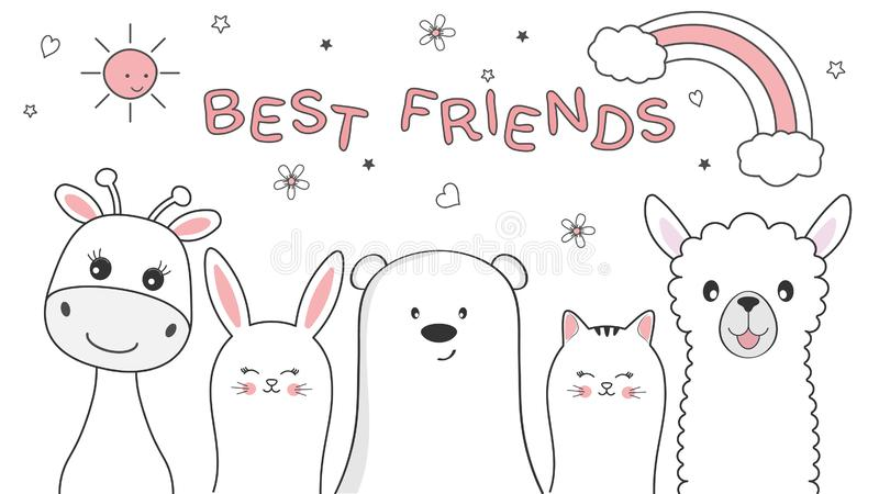 Śliczni zwierząt żyrafy, kota, niedźwiedzia, królika i lamy najlepszy przyjaciele, szczęśliwa dzień przyjaźń royalty ilustracja