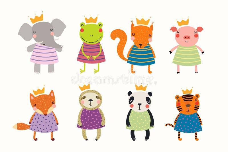 Śliczni zwierząt princesses ustawiający royalty ilustracja