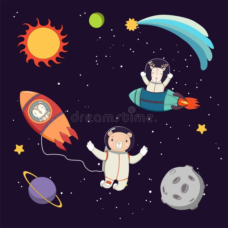 Śliczni zwierzęcy astronauta w przestrzeni royalty ilustracja