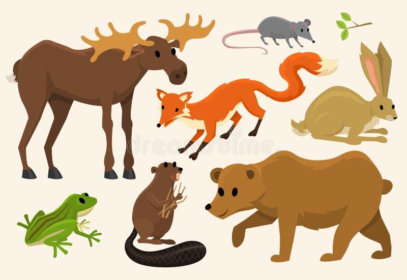 Śliczni zwierzęta dla dziecka Dziki łoś amerykański, rogacz, zając, wilk i niedźwiedź, żaba i lis Rocznika świat Kreskówka wektor royalty ilustracja