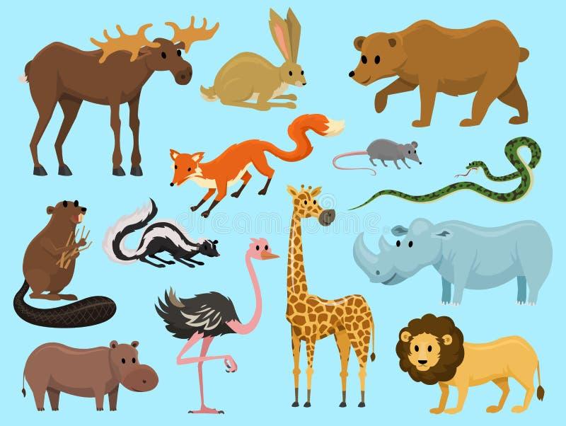 Śliczni zwierzęta dla dziecka Dziki żyrafa łosia amerykańskiego wielbłąd i rogacz, nosorożec zając, wilk i niedźwiedź z, lwem i t ilustracji