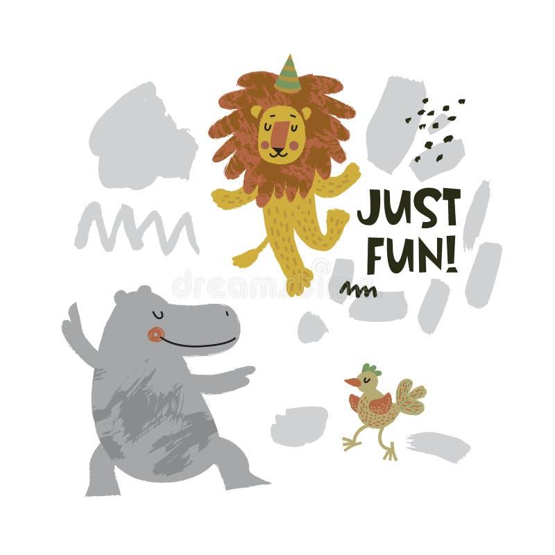 Śliczni zwierzęta - hipopotama, ptaka i lwa dancingowa ilustracja z tekst Właśnie zabawą! na ręce rysującej kształtuje tło ilustracja wektor