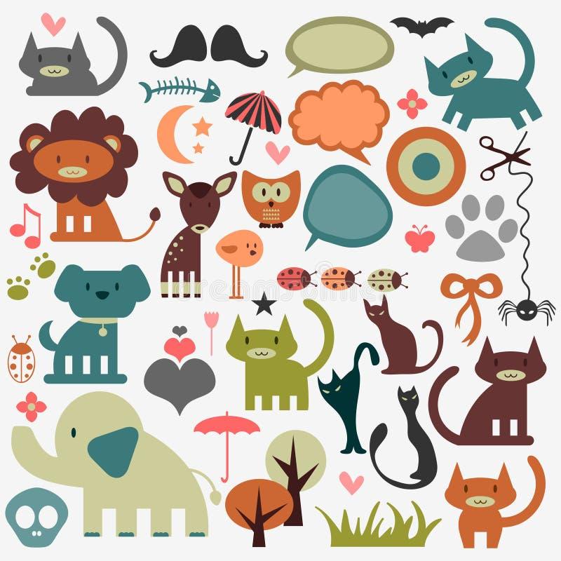 Śliczni zwierzęta i różnorodni elementy royalty ilustracja