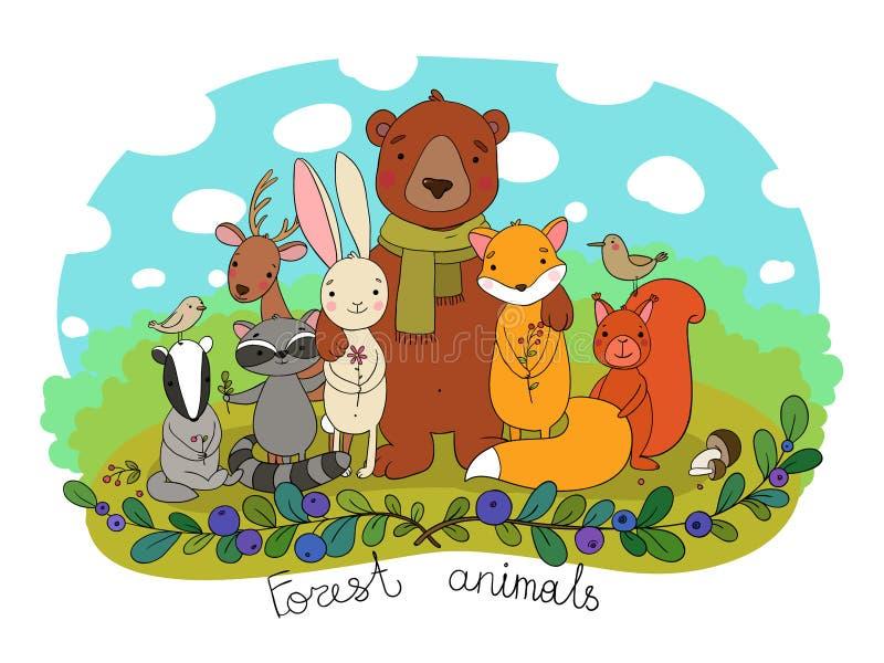 Śliczni zwierzęta las royalty ilustracja