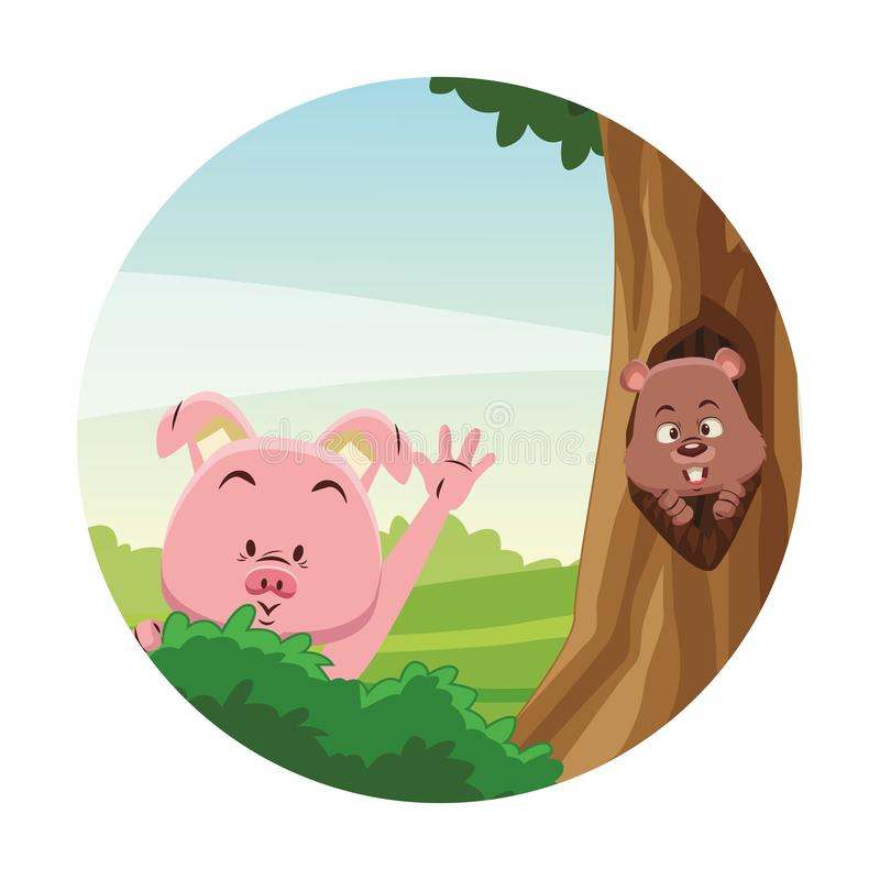 Śliczni zwierzęta przy lasem ilustracji