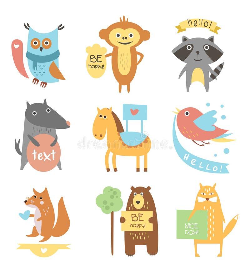 Śliczni zwierzęta, ptaki z faborkami i deski dla, ilustracja wektor