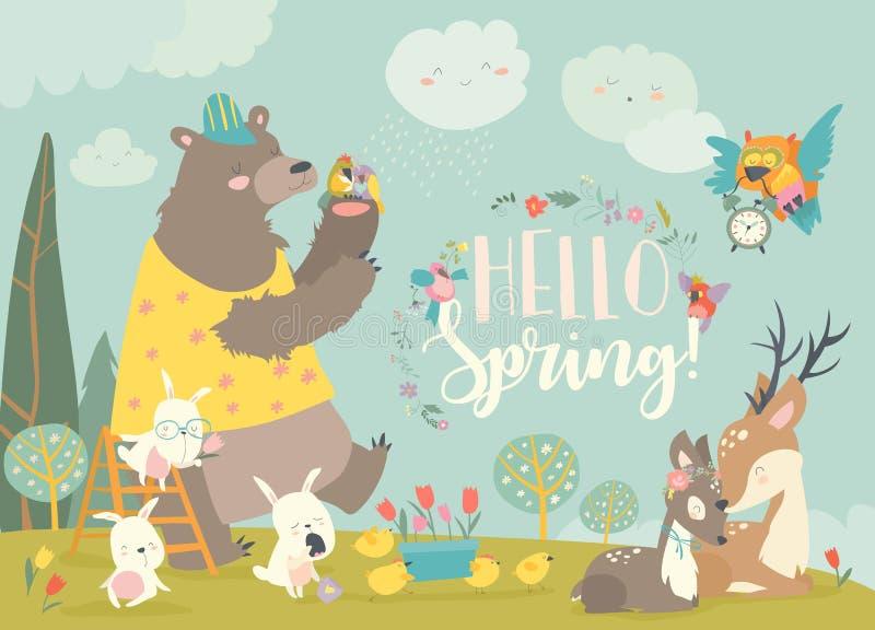 Śliczni zwierzęta spotyka wiosnę w lesie royalty ilustracja