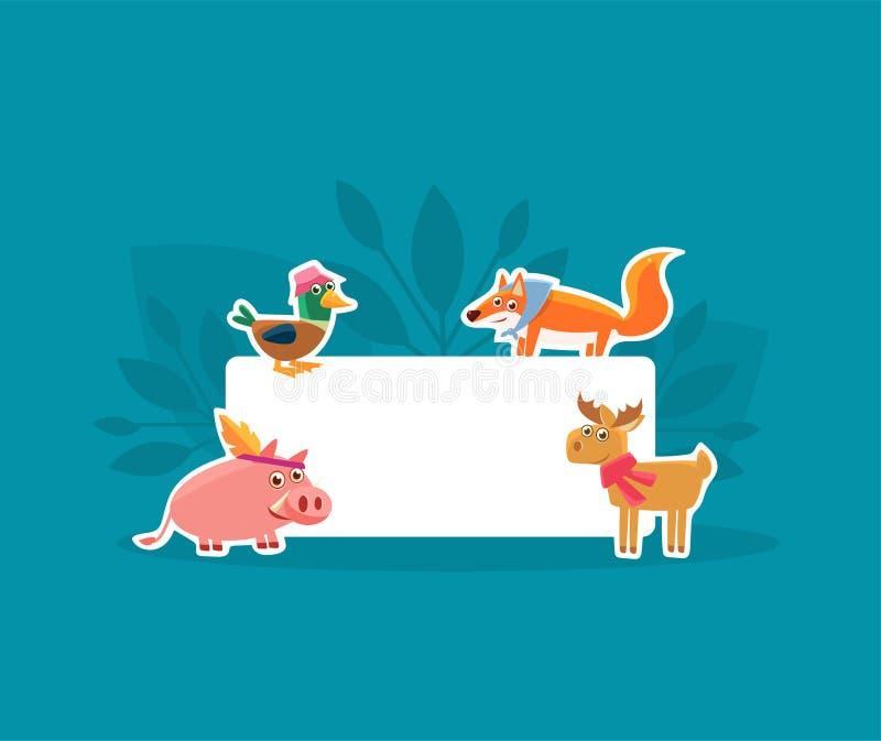 Śliczni zwierzęta Trzyma Pustego sztandar, świnia, kaczka, Fox i Jeleni majchery z Białą Pustą Signboard wektoru ilustracj ilustracji