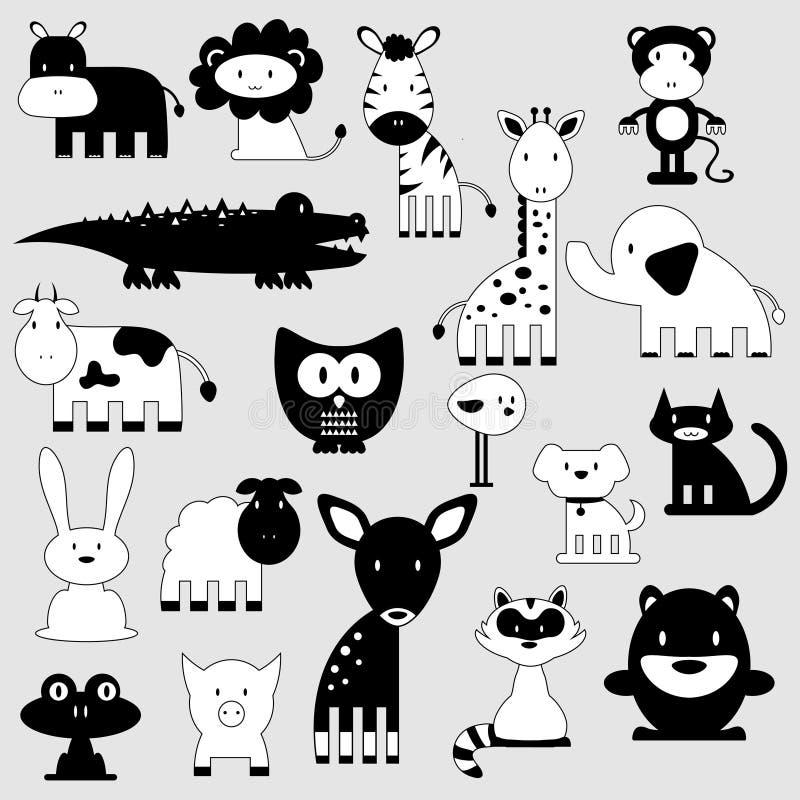 Śliczni zwierzęta ustawiają dzikiego i domowego royalty ilustracja