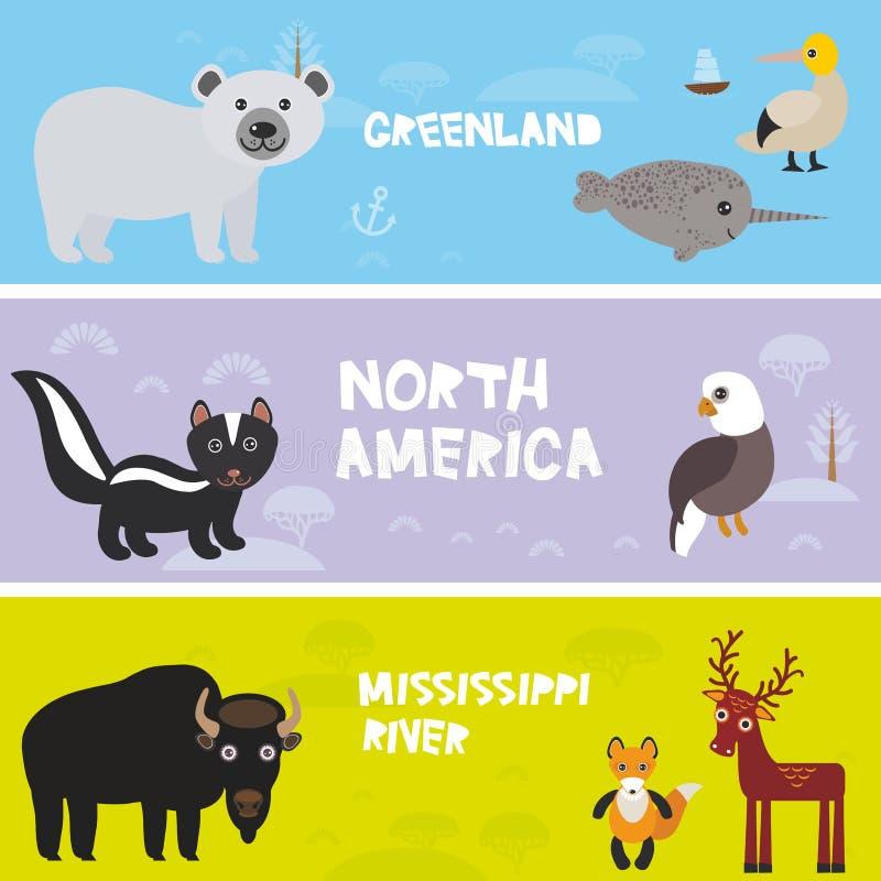 Śliczni zwierzęta ustawiają krokodyla aligatora niedźwiedzia polarnego łosia skunksowego lisa żubra gannet narwhal orła, żartują  royalty ilustracja