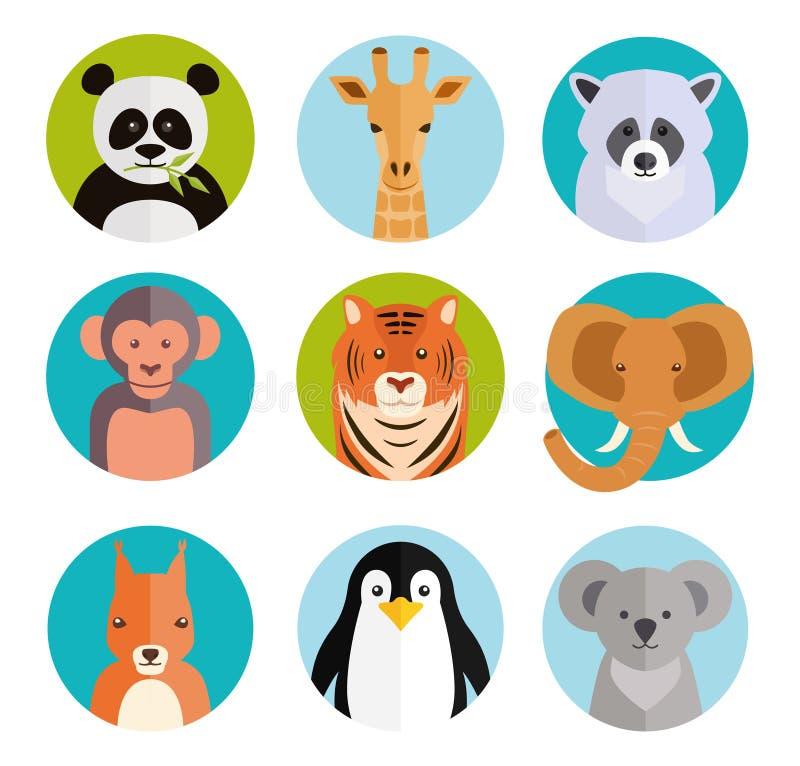 Śliczni zwierzęta w barwionych round odznakach ilustracja wektor