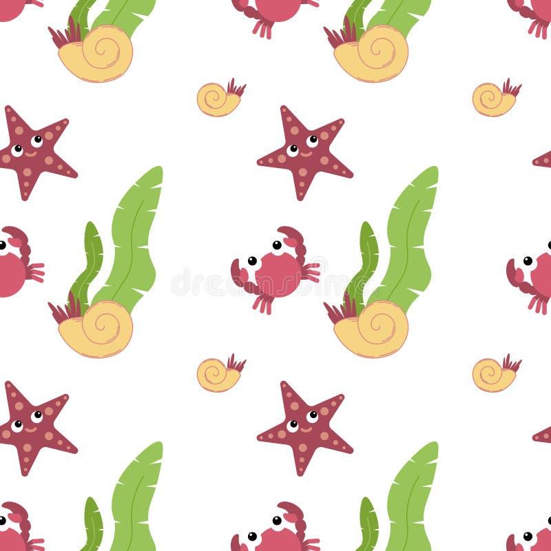 Śliczni zwierzęta w mieszkanie stylu - krab, rozgwiazda, skorupa ilustracja wektor