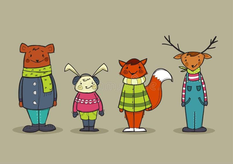 Śliczni zwierzęta w odziewają ilustracji