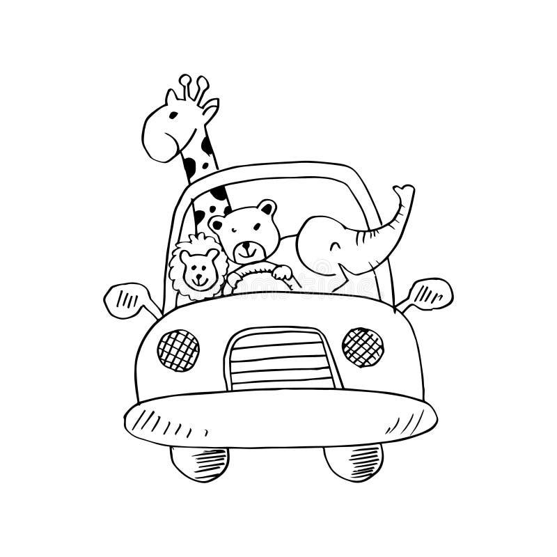 Śliczni zwierzęta w samochodzie na drodze ilustracji