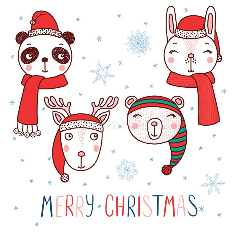 Śliczni zwierzęta w Santa kapeluszach ilustracji