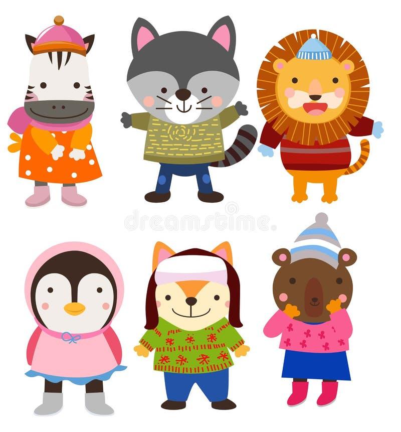 Śliczni zwierzęta w zimie odziewają ilustracji