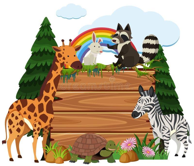 Śliczni zwierzęta wokoło drewnianej deski w parku ilustracji