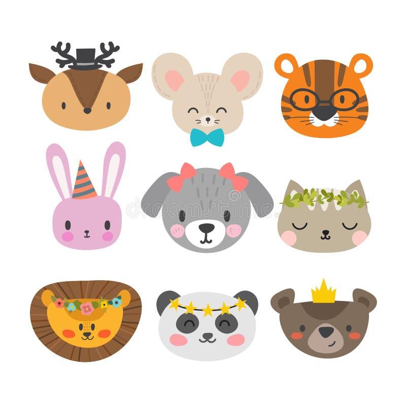 Śliczni zwierzęta z śmiesznymi akcesoriami Set ręka rysujący uśmiechnięci charaktery Kot, lew, pies, tygrys, panda, rogacz, króli royalty ilustracja